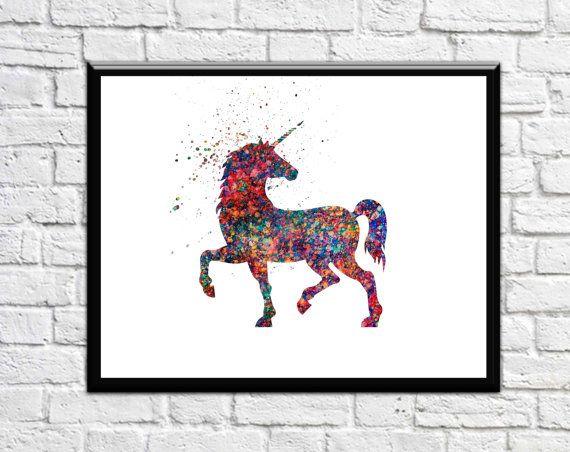 Unicorn Art Unicorn Nursery Art Unicorn with Galaxy by DaniJArts
