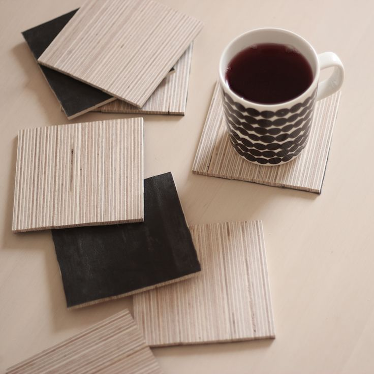 3ovi: diy coasters by plywood and leather