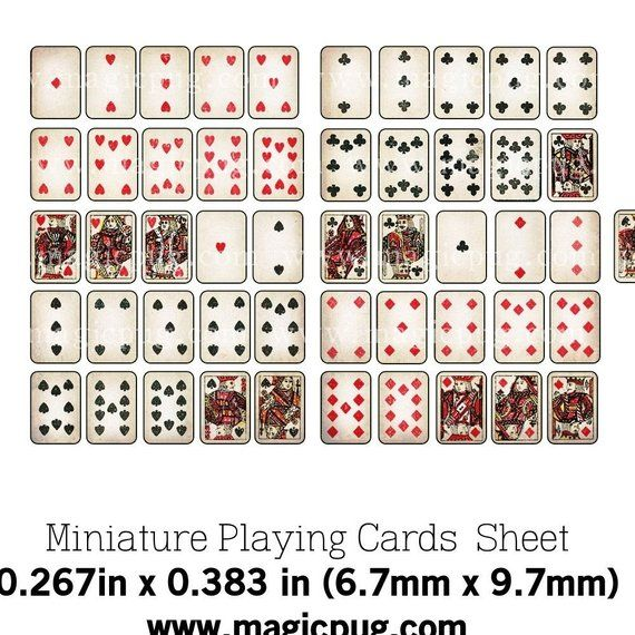Printable Miniature Dollhouse Playing Cards With Box