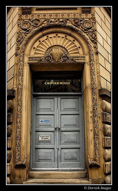 Caspian House Doorway in Little Germany section of Bradford, UK~