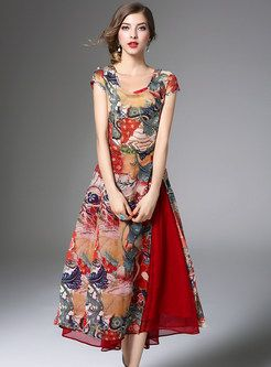 Stylish Floral Print Asymmetric Patch Split Skater Dress With Skirt