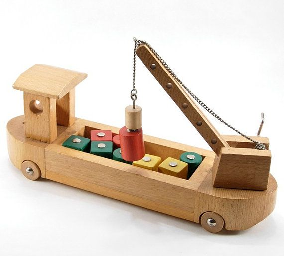 Wooden Cargo Ship Childs Toy by MoreLooseEnds on Etsy, $24.00