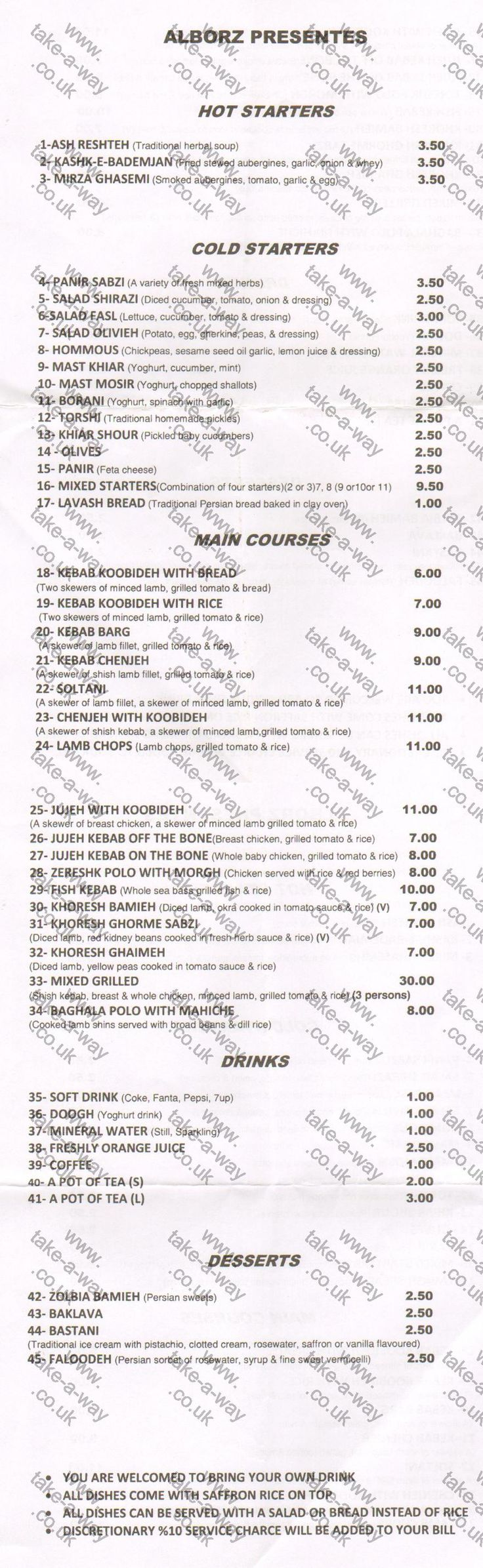 Alborz Restaurant - Kensington take away menu