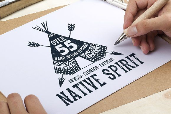 Native Spirit. 55 Hand Drawn Objects by Cosmic Store on @creativemarket
