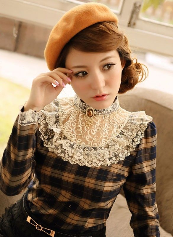 Mango Doll - Sweet Plaid Lace Shirt , $29.99 (http://www.mangodoll.com/all-items/sweet-plaid-lace-shirt/)