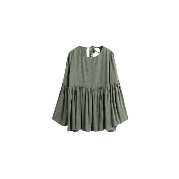 Long-Sleeve Babydoll Top ($20) ❤ liked on Polyvore featuring tops, women, long sleeve babydoll tops, baby doll tops, fashion street tops, olive top and babydoll tops