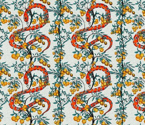 Colorful fabrics digitally printed by Spoonflower – Snake and Orange Trees – Textiles