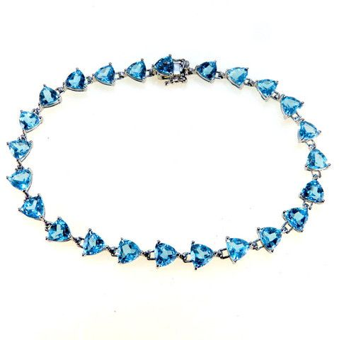 14k White Gold Line Bracelet Trillion Cut Blue Topaz