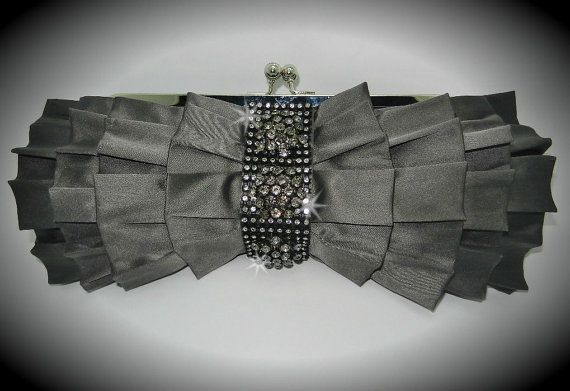 Pewter Grey Satin Ruffle Clutch with by DESIGNERSHINDIGS on Etsy, $49.00