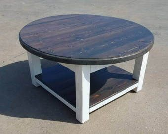 Round farmhouse coffee table with gray stained top and lower shelf – rustic furniture – reclaimed wood table – farmhouse style