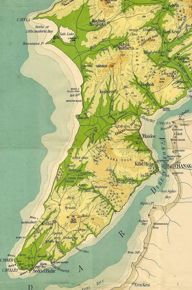 Lieu d'une bataille pendant la 1ere guerre mondiale meurtrière et dont l'intérêt stratégique reste discuté. War Map Of The Gallipoli Peninsula 1915