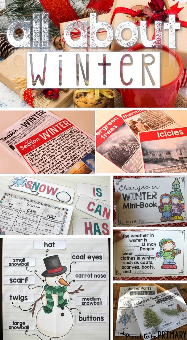 All About Winter by Proud to be Primary has everything you need to teach about winter, including snow, snowflakes, evergreens, snowmen, and more (lesson suggestions, printables, activities, anchor charts, headings for charts, templates, sorts, & much more!)