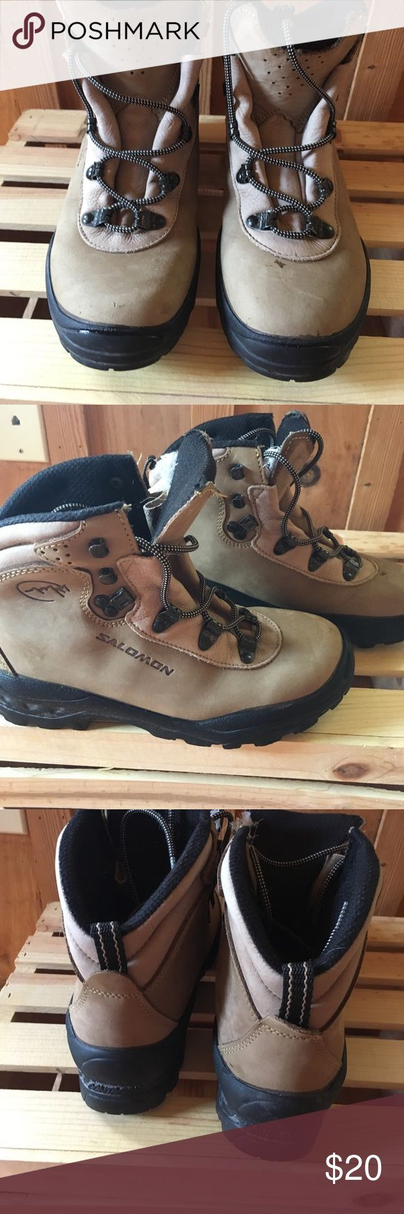 Salomon hiking boots Perfect for hiking in the fall. They do have scuffs and scratches please see pictures. They do not have the size on them however I am and six and they fit me great. Please let me know if you have any questions. Salomon Shoes Winter & Rain Boots