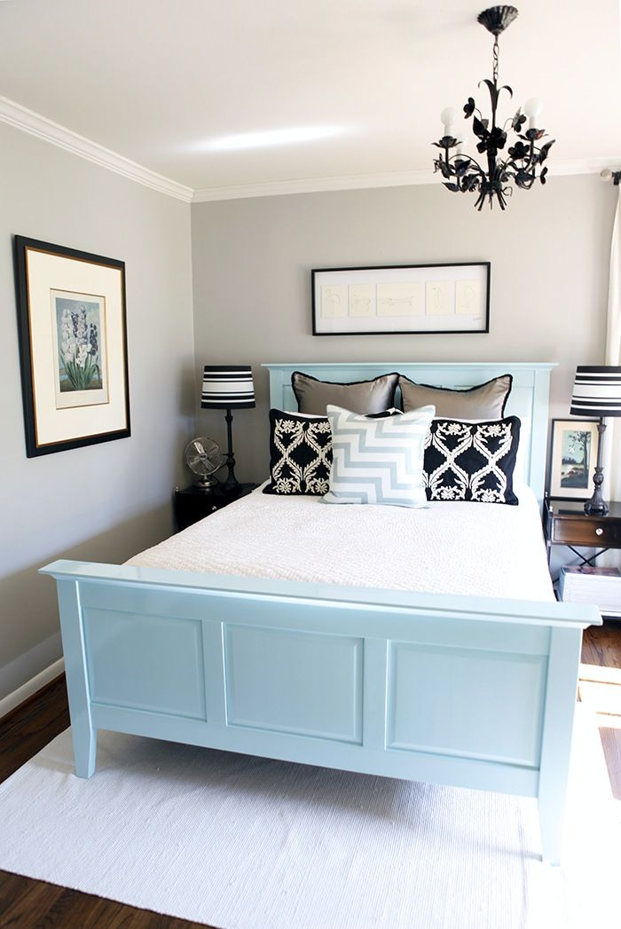 Light gray, light blue, and dark accents - great guest bedroom!