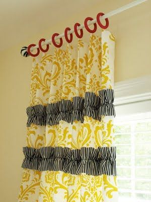 Love these curtains. For my living room, different colors, similar idea.