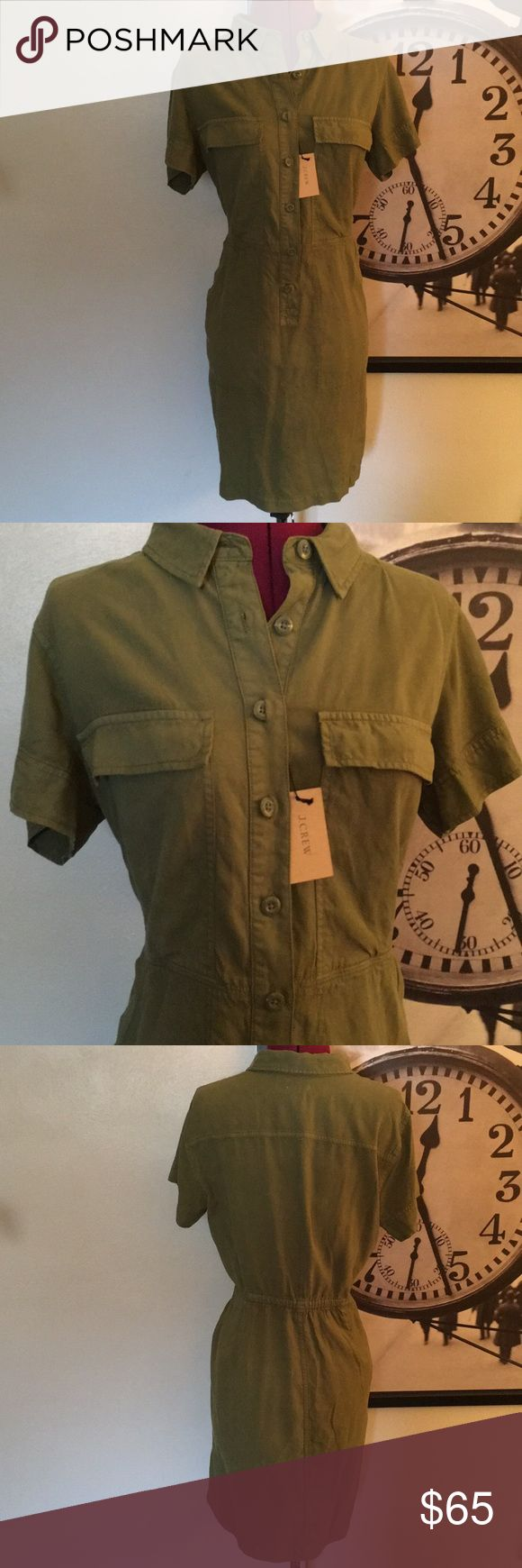 J. Crew Olive Cargo Shirt Dress Olive Cargo Shirt Dress in a thick non stretch fabric. Gathered waist back, pockets. This dress is great for multiple seasons!  NWT and Buttons J. Crew Dresses Midi