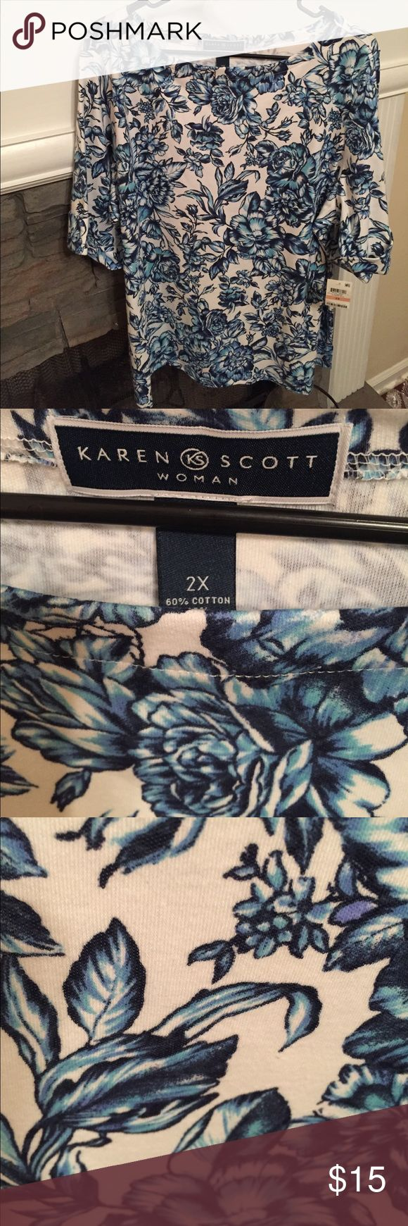 Karen Scott Woman's 2X Intrepid Blue Top NWT Karen Scott Woman's 2X intrepid blue with white background top. Cuffed sleeves, small side slits, boatneck. NWT Karen Scott Tops