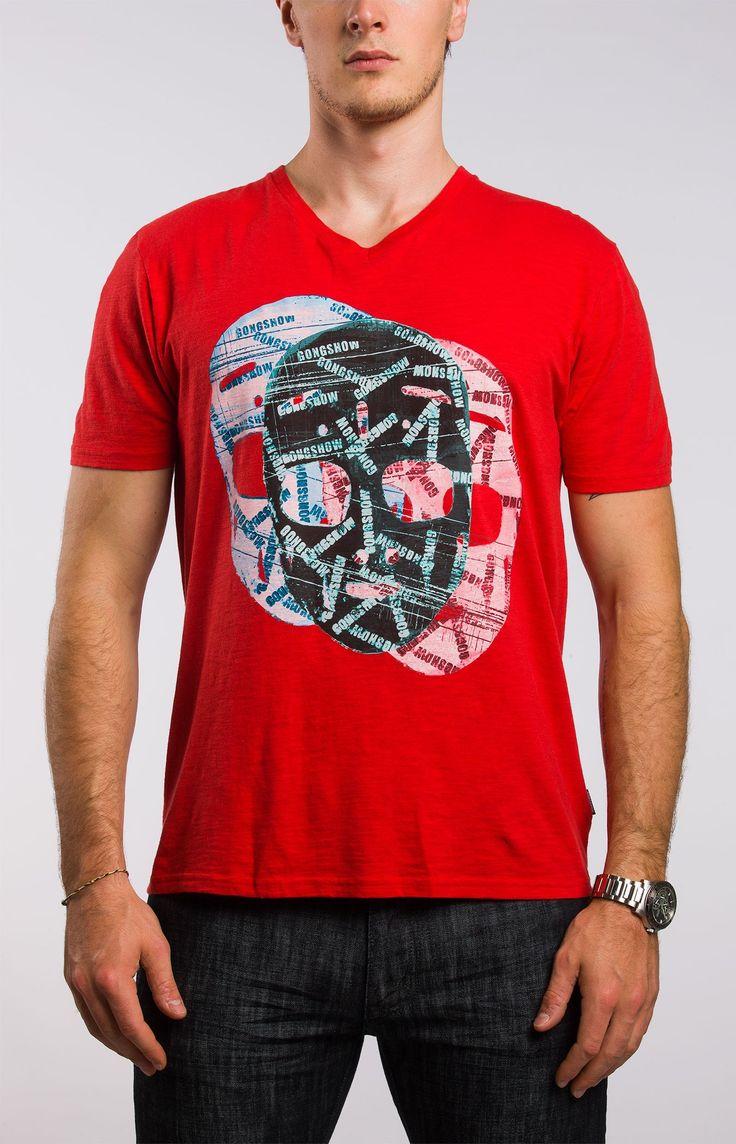 Masking It Mens Red Hockey T-Shirt | GONGSHOW Hockey Lifestyle Apparel