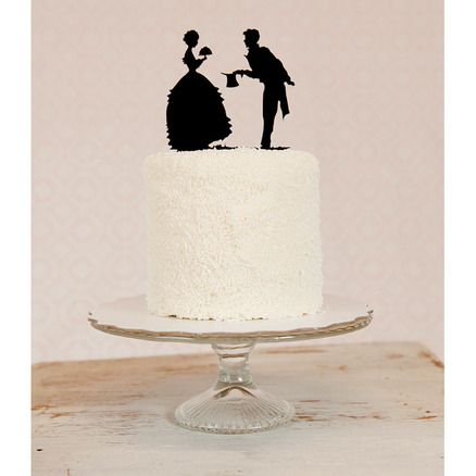 Custom Silhouette Wedding Cake Topper in Acrylic made from your photos - hmm...maybe make this diy?