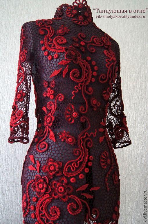 """Купить Платье """"Танцующая в огне"""" - бордовый, цветочный, ирландское кружево, Вязание крючком, вязаное платье"""