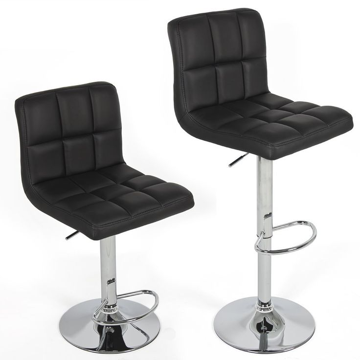 Amazon Chic Modern Adjustable Swivel Bar Stools Black Set of 2