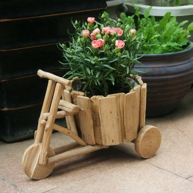 DIY Creative Ideas Flowerpot Handmade Wooden Carts Green Flower Pots Vases  Three Home Gardening