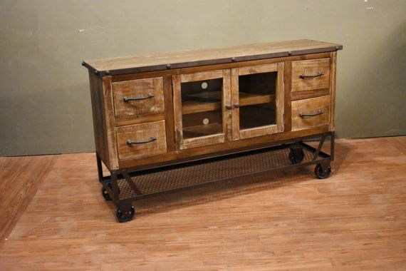 Industrial Rustic Reclaimed wood 55 Inch TV stand / by RusticShop1