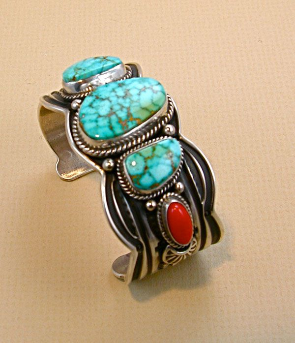 Cuff | Darrell Cadman (Navajo).  Silver, turquoise and red coral.