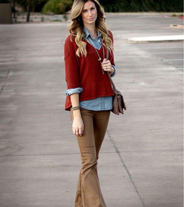A calça flare foi tendência no verão, mas continua em alta no inverno Crédito: Pinterest