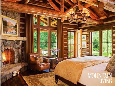 Montana Log House Rustic Western Stone Fireplace Walls Chinking