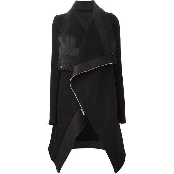 Rick Owens Oversized Biker Coat ($1,884) ❤ liked on Polyvore featuring outerwear, coats, jackets, takit, black, black oversized coat, black coat, rick owens, long sleeve coat e biker coat