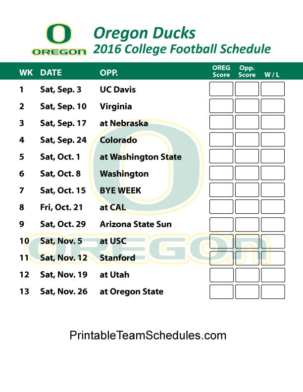 Oregon Ducks Football Schedule 2016.  Print Schedule Here - http://printableteamschedules.com/collegefootball/oregonducks.php