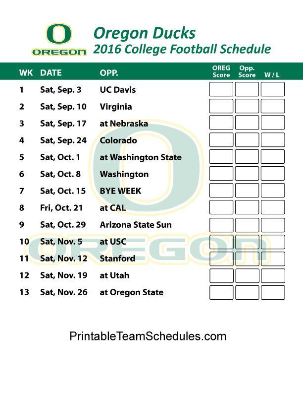 Oregon Ducks Football Schedule 2016.  Print Schedule Here - http://printableteamschedules.com/collegefootball/oregonducks.php