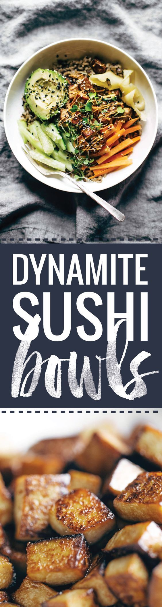 Dynamite Plant Power Sushi Bowls! just like a dynamite roll, but easier and healthier with tofu, avocado, cucumber, ginger, brown rice, and spicy mayo. Vegetarian / easily made vegan. | pinchofyum.com