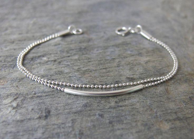 Simple silver bracelet Minimalist Beaded bracelet Delicate bracelet silver bar bracelets Double layered bracelet Dainty Minimalist jewelry – Custom Jewellery Top Picks