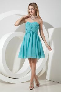 Turquoise Princess Sweetheart Knee-length Ruching Quince Dama Dresses