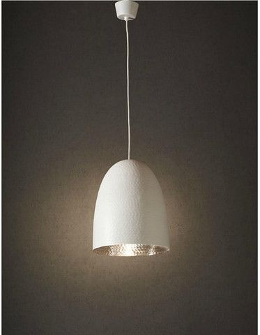 The dolce lamp is a new take on our tremendously popular egg lamps this fixture features a unique beaten metal texture with a stunning matte white exterior
