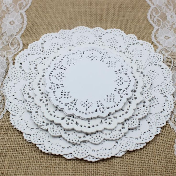 """SS01607 4.5""""&5.5""""6.5""""&8.5""""Mixed Sizes Round Lace Flower Paper Doilies Placemat Crafts for Wedding Party Decoration Supplies"""