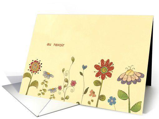 au revoir, Good bye in French, flowers card