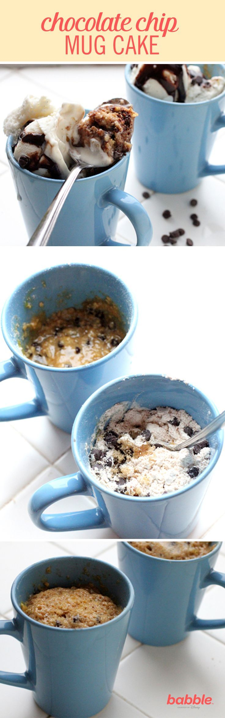 What better comfort food than this quick and easy mug cake that tastes just like chocolate chip cookie dough, and can be microwaved in less than two minutes? Grab an egg, brown sugar, flour, butter, and chocolate chips to create this melt-in-your-mouth Chocolate Chip Cookie Dough Mug Cake. Click for the recipe.