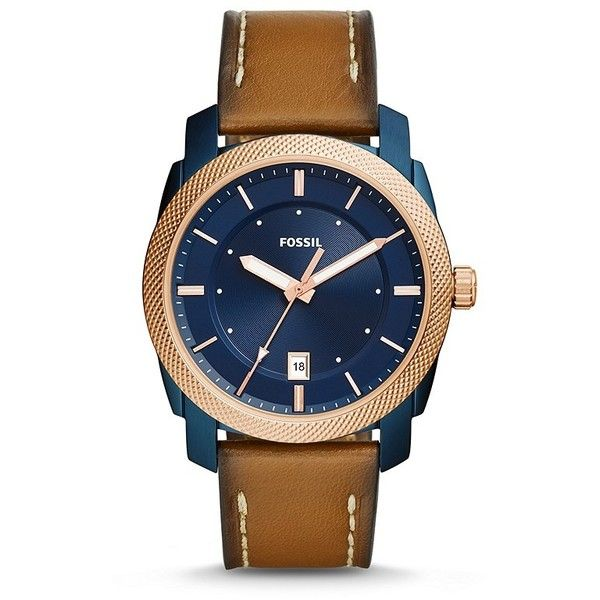 Fossil Machine Three-Hand Date Luggage Leather Watch (2,540 MXN) ❤ liked on Polyvore featuring men's fashion, men's jewelry, men's watches, mens leather watches, mens blue dial watches, mens leather strap watches and mens rose gold watches