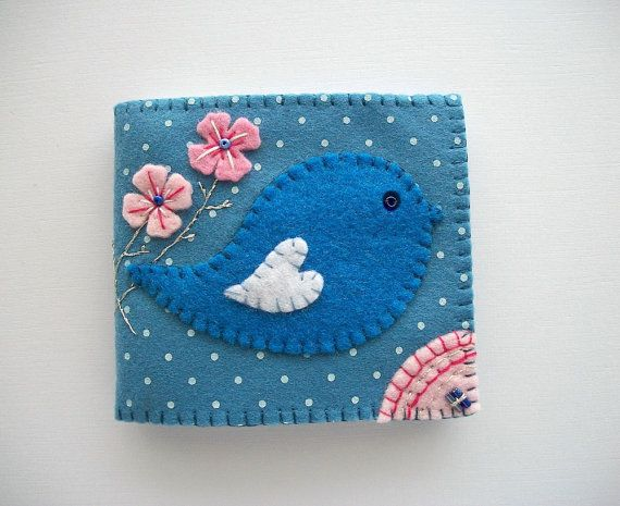 Needle Book Light Blue Felt with Polka Dots Folk Art Bird Handsewn