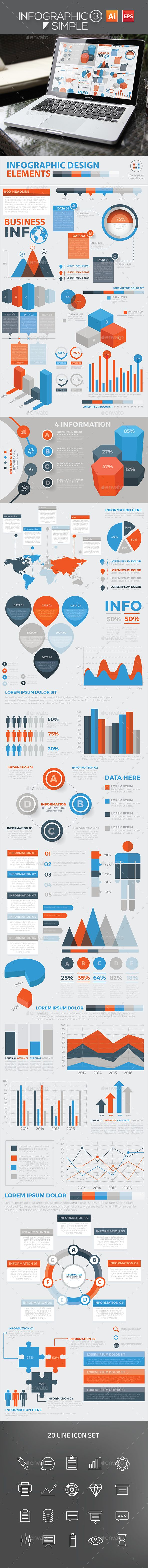 Infographic Simple 3 — Vector EPS #market #line graph • Available here → https://graphicriver.net/item/infographic-simple-3/18068634?ref=pxcr