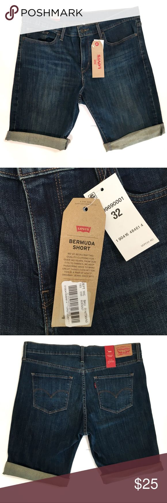 """NWT Levi's Bermuda Jean Shorts Mid Rise 32/14 Brand new with tags! Levi's Bermuda Jean Shorts are Slim through hip and thigh with a longer cuffed leg. 99% Cotton and 1% Elastine for comfortable stretch that holds. Women's size 32 or 14. Waist 18"""" flat unstretched. Rise 10"""". Inseam 10"""" Levi's Shorts Bermudas"""