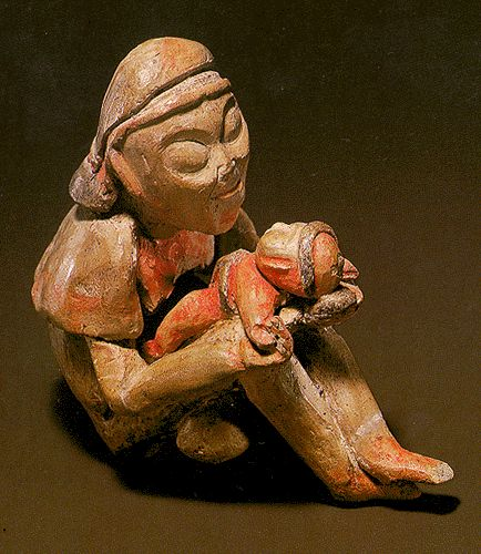 Olmec seated figure with baby