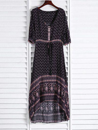 GET $50 NOW | Join Zaful: Get YOUR $50 NOW!http://m.zaful.com/ethnic-print-v-neck-3-4-sleeve-maxi-dress-p_95905.html?seid=49q9t19j55p16oli4gncnn7q71zf95905