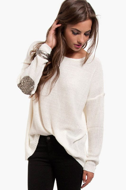 Sweater with sequin elbow patches