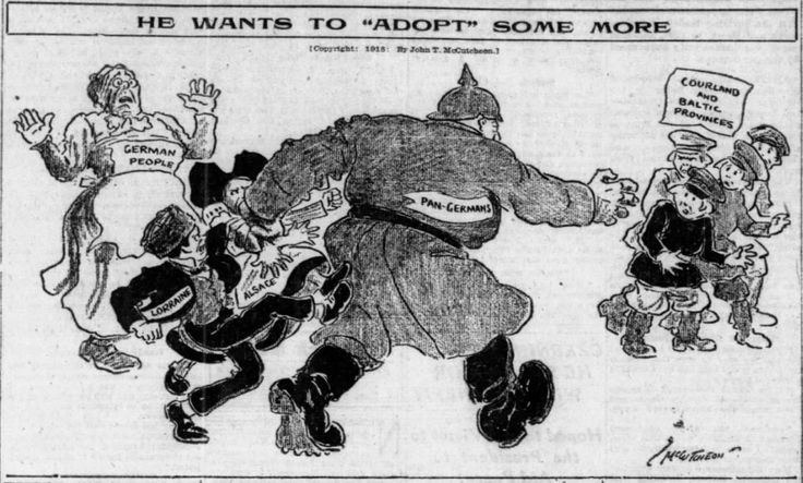 """March 11, 1918 - Germany Creates Puppet States in the East  Pictured - A German soldier figure grasps for new territories in this cartoon from the Chicago Tribune. Notice how the """"German People"""" are represented more sympathetically. The American press made a large differentiation between Prussia and other Germans, in part to bolster war support among German-Americans."""