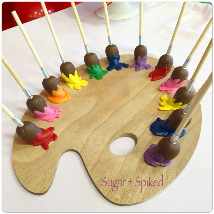 Paint brush cake pops for a painting party!