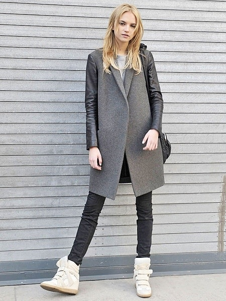 greys + sneaker wedgesIsabelmarant, Fashion, Marant Sneakers, Leather Sleeve, Sneakers Wedges, Street Style, Isabel Marant, Wedges Sneakers, Coats